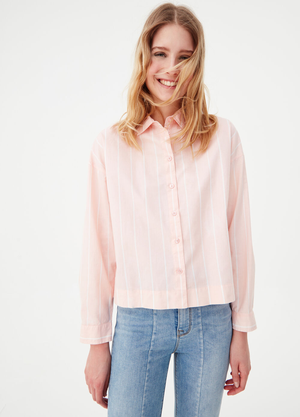 100% cotton striped boxy shirt