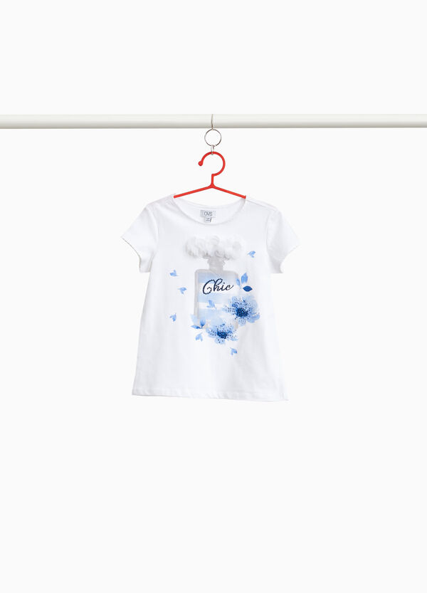Stretch T-shirt with perfume print