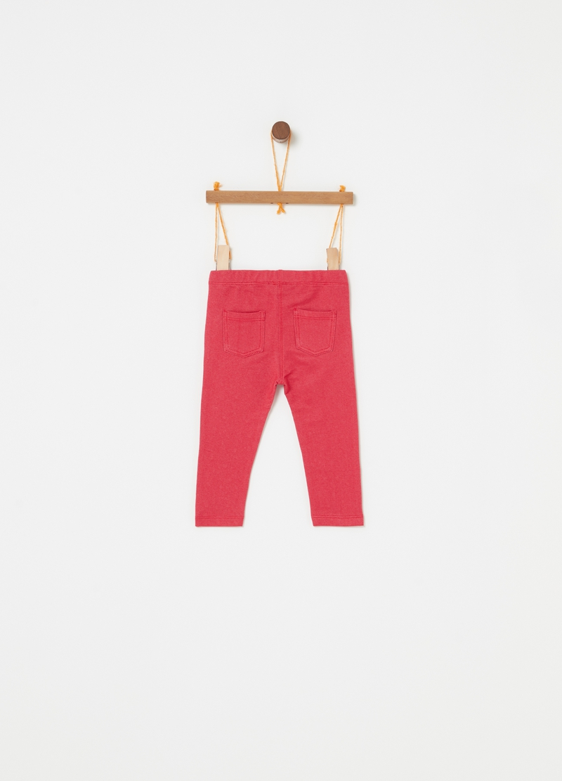 Pantaloni stretch con tasche e strass image number null