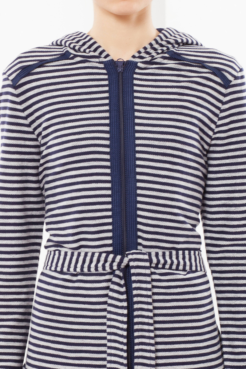 Striped dressing gown with hood image number null
