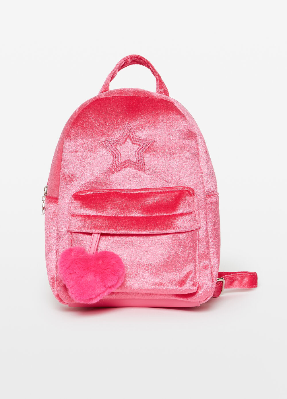 Faux fur backpack with pompom