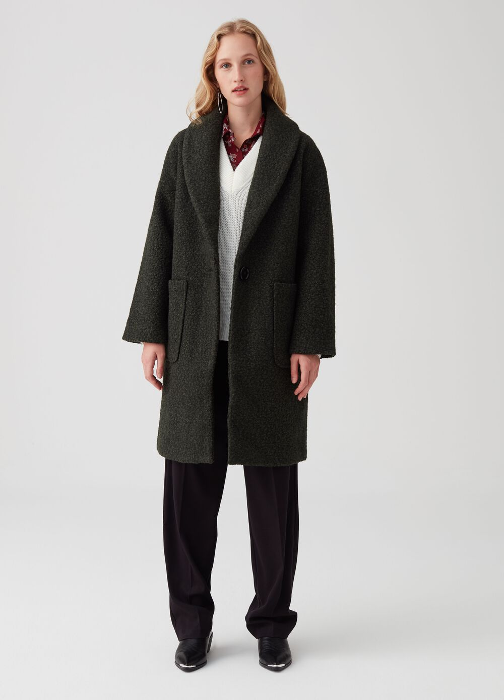 Bouclé fabric coat with pockets
