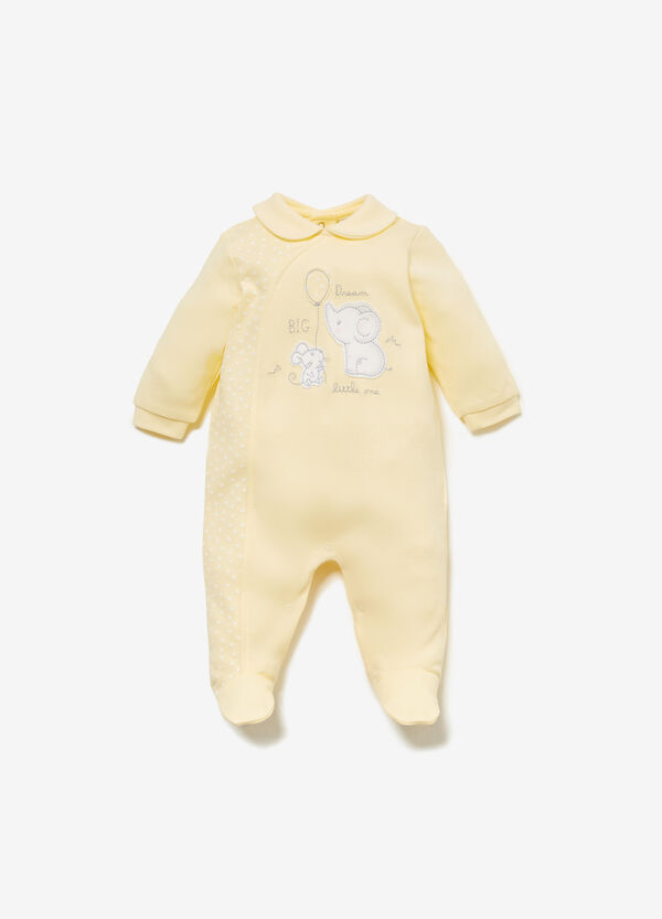 Onesie in 100% cotton with patch and polka dots