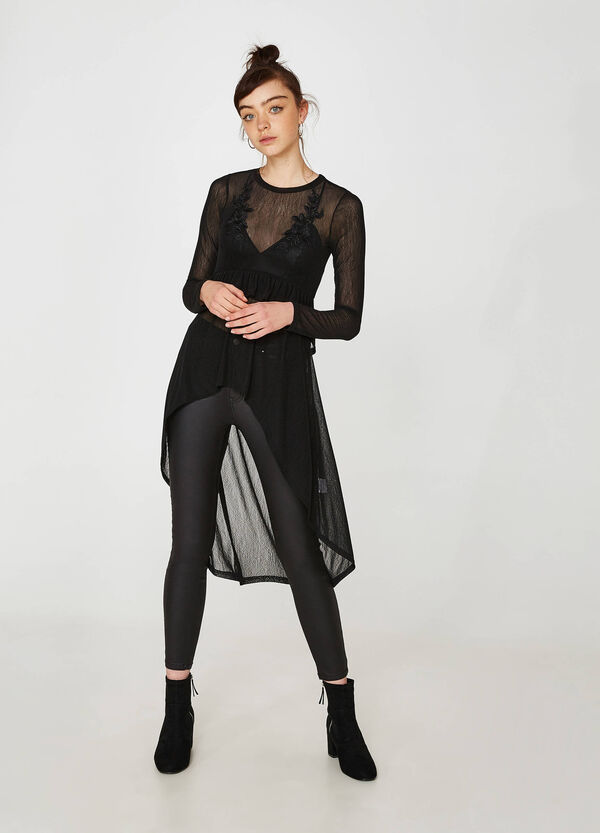 Semi-sheer stretch T-shirt