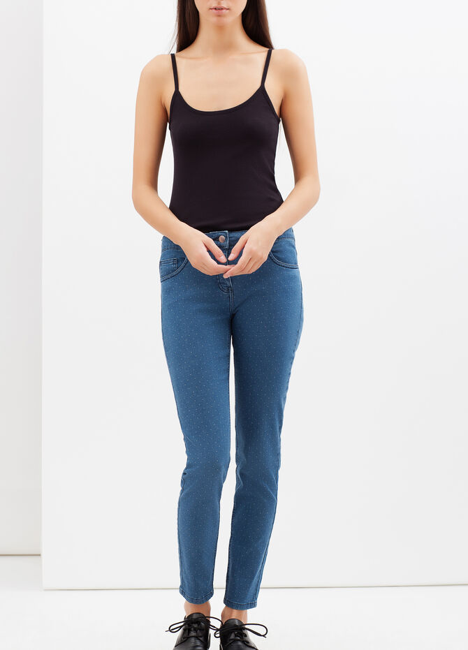 Stretch jeans with white micro dots