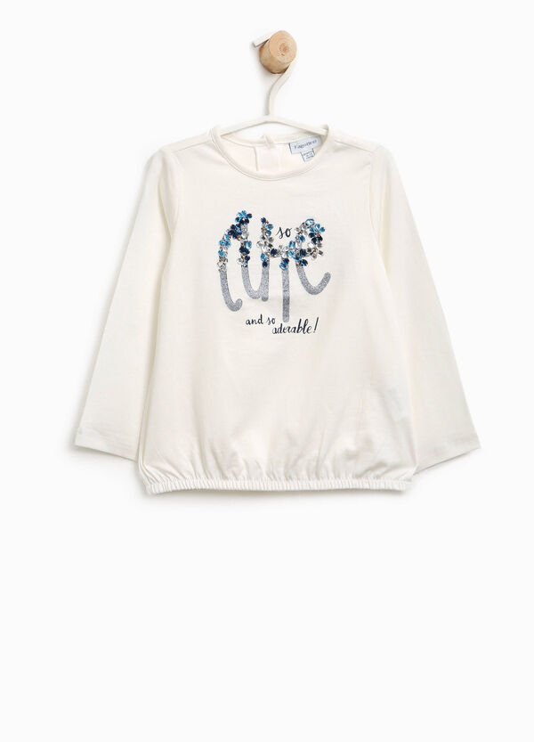 Cotton T-shirt with diamantés and glitter print | OVS