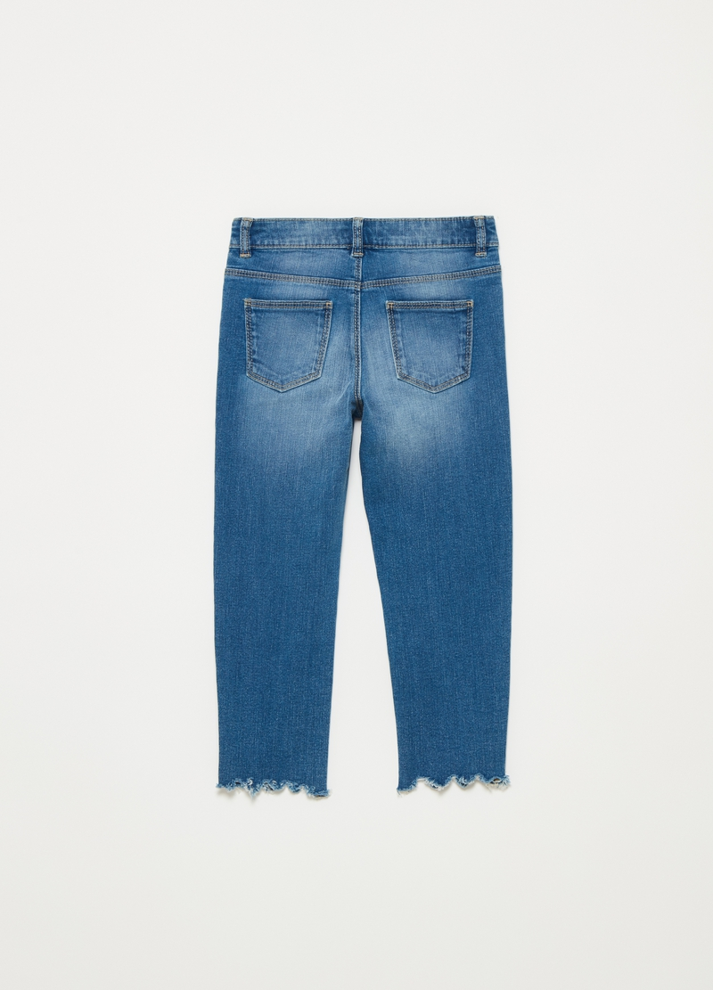 Jeans with wavy fringed hem image number null