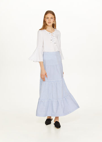 Long skirt with striped flounces