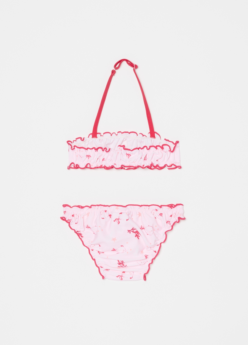 One-piece swimsuit with marine pattern image number null