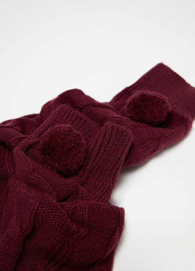 Knitted leg warmers with pompom image number null