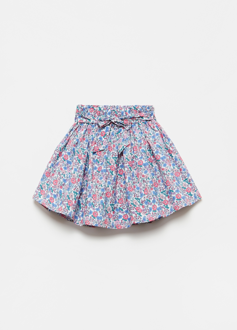 Pleated miniskirt with all-over print image number null