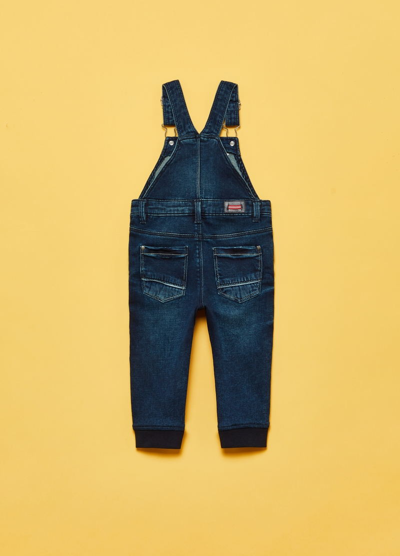 French terry denim dungarees image number null