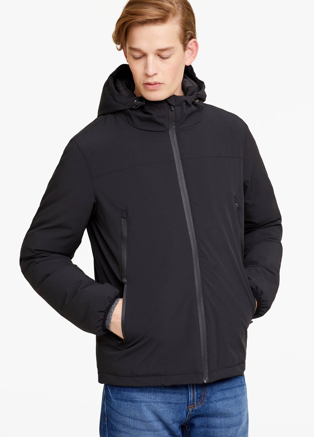 Stretch fabric jacket with zip
