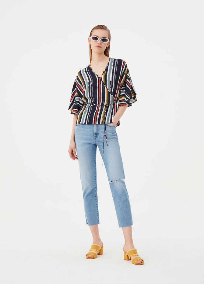 Crêpe crossover blouse with belt