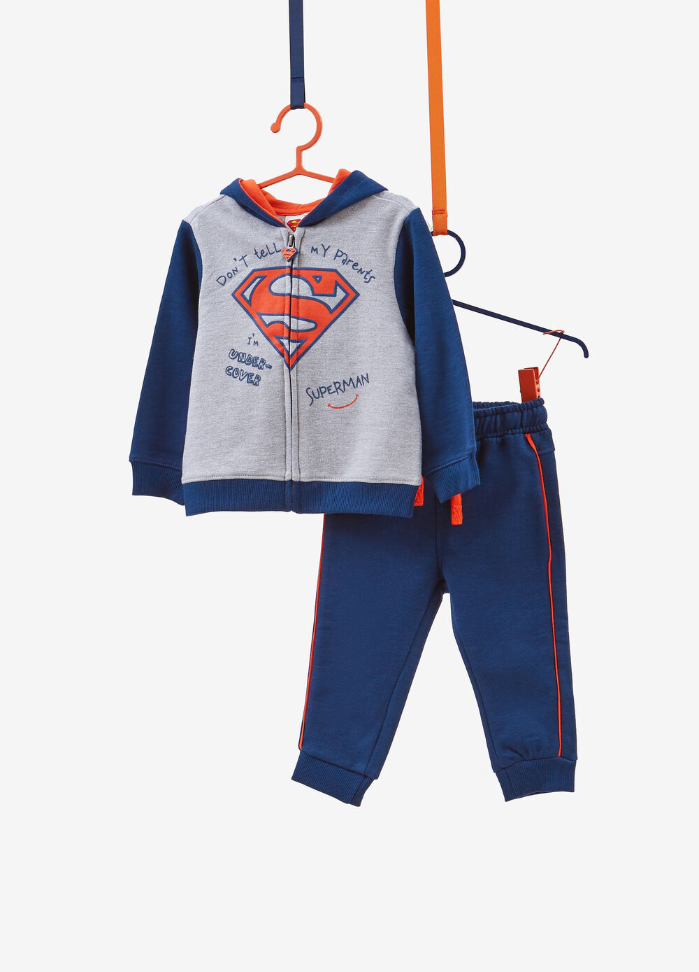 Tracksuit in cotton blend with Superman print