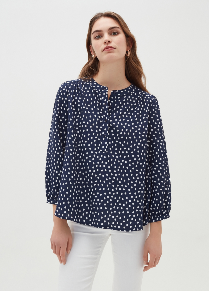 Patterned blouse with puff sleeves image number null
