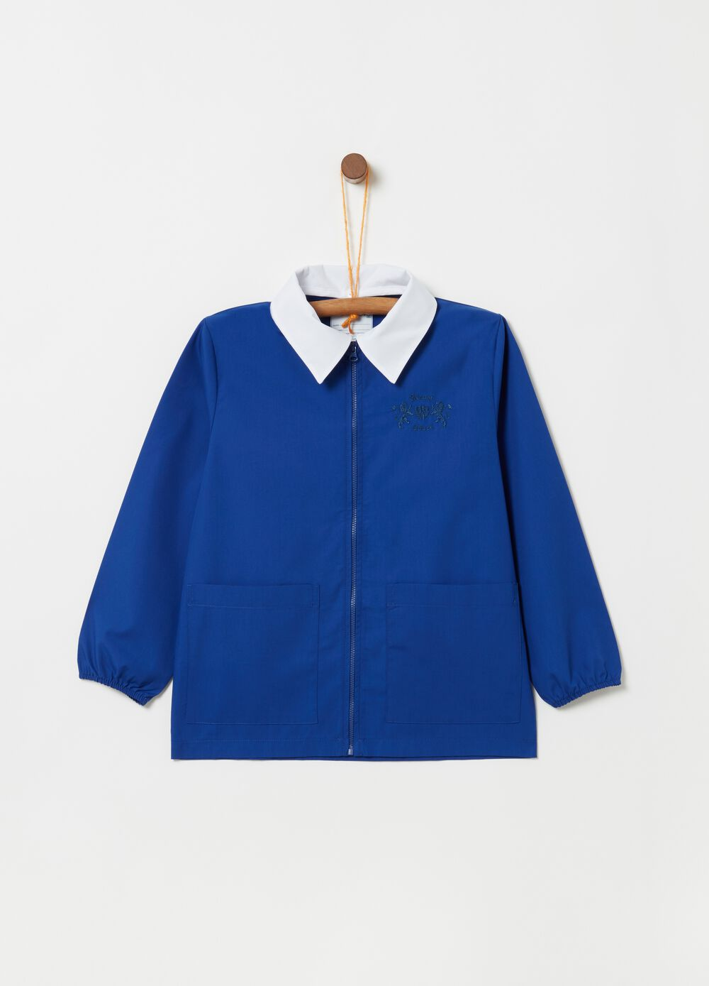 School smock with contrasting collar and zip fastening