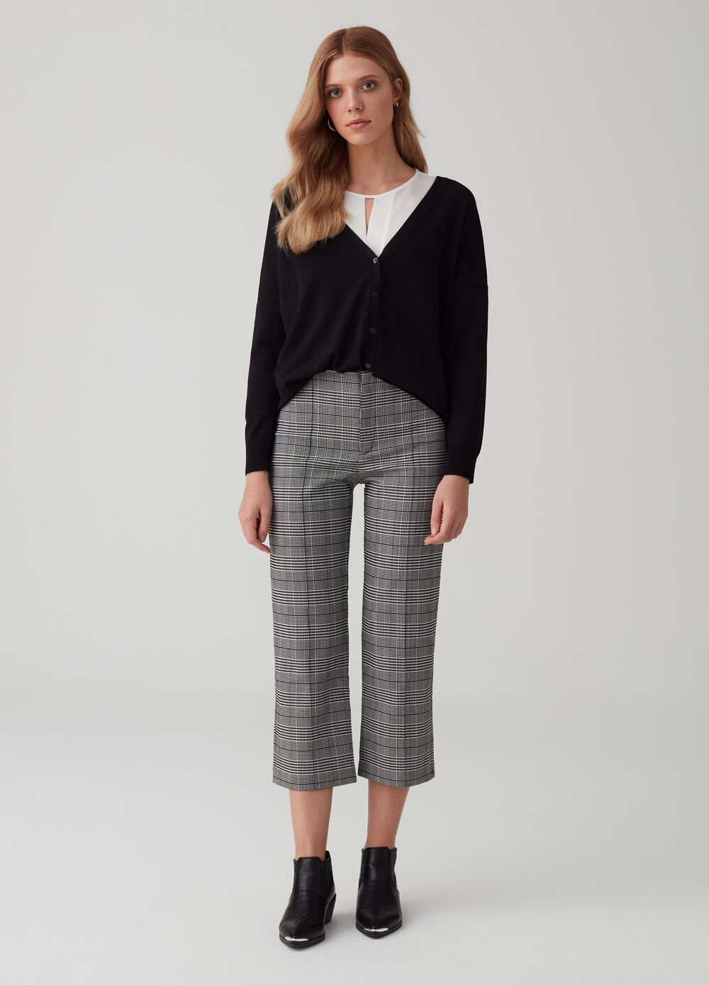 Check yarn-dyed straight-fit trousers