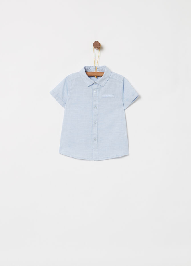 Cotton shirt with short sleeves and pocket