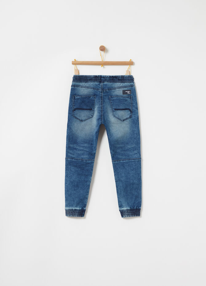 Joggers in washed-effect denim French terry