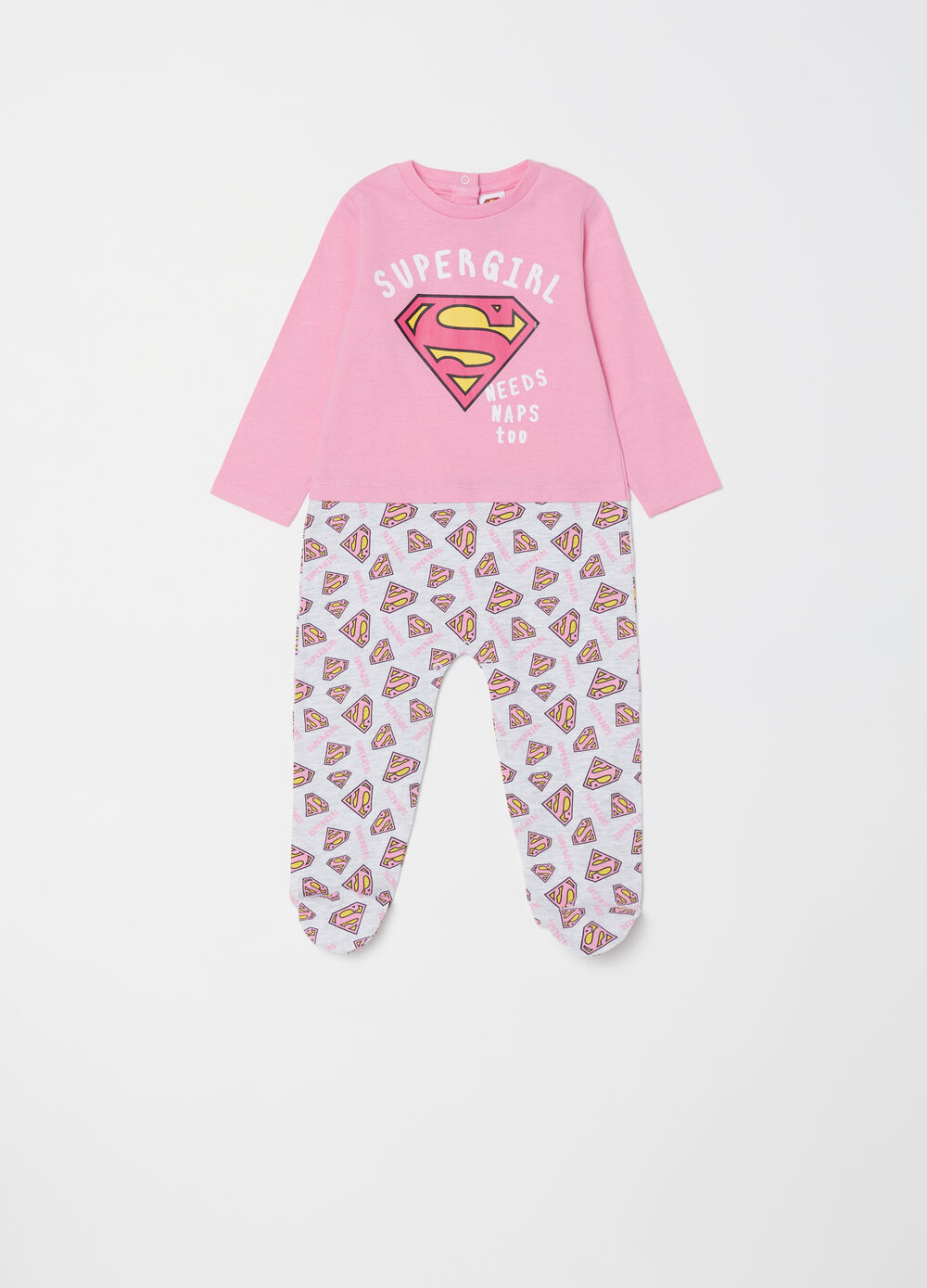 100% cotton Superman onesie with feet