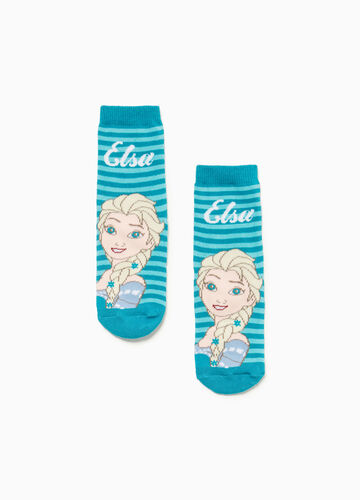 Striped slipper socks with Frozen motif embroidery