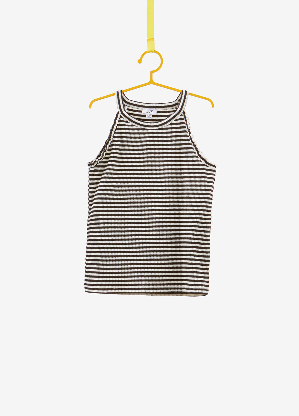 Striped stretch cotton blend top