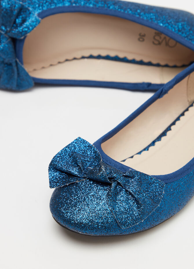 Glitter ballerina flats with bow