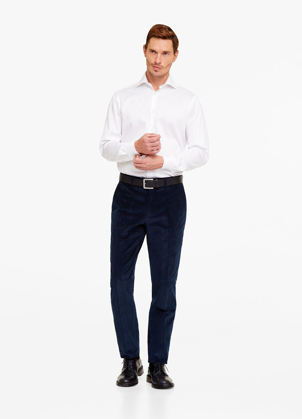 Regular-fit stretch ribbed trousers