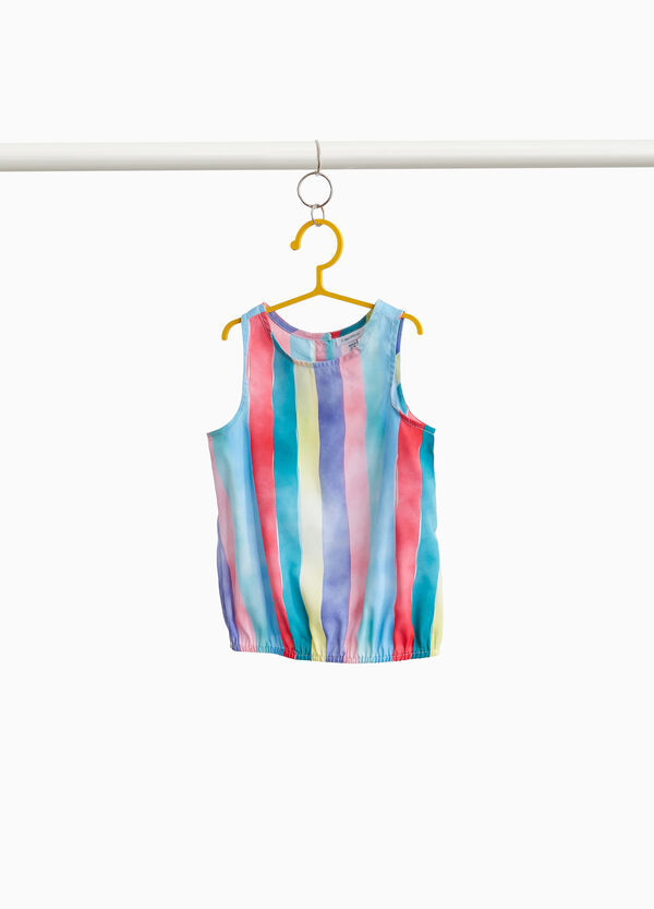 Sleeveless shirt with striped pattern