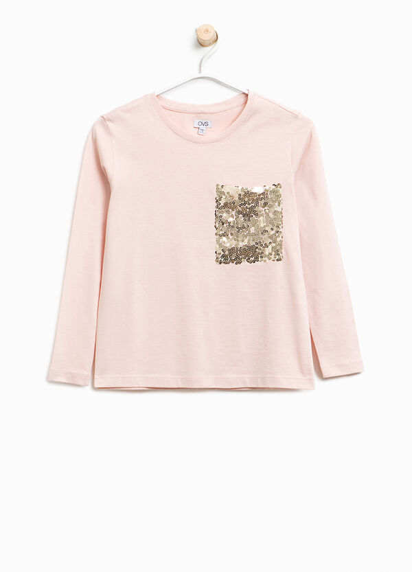 Cotton T-shirt with sequinned pocket