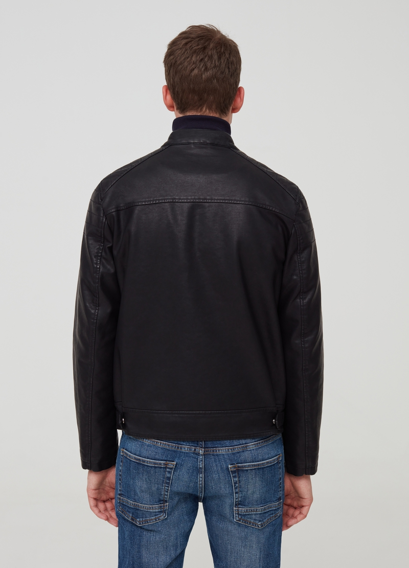 Faux leather jacket with pockets image number null