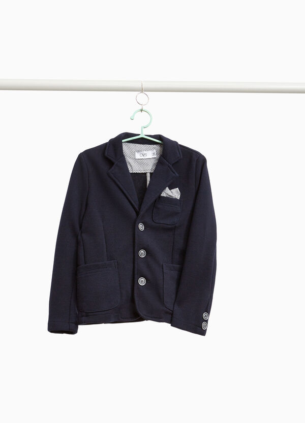 Cotton blend blazer with three-button fastening