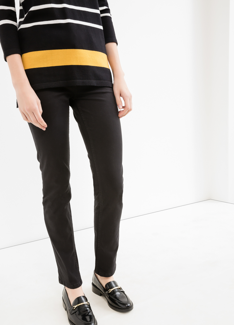 Solid colour slim-fit cotton trousers image number null
