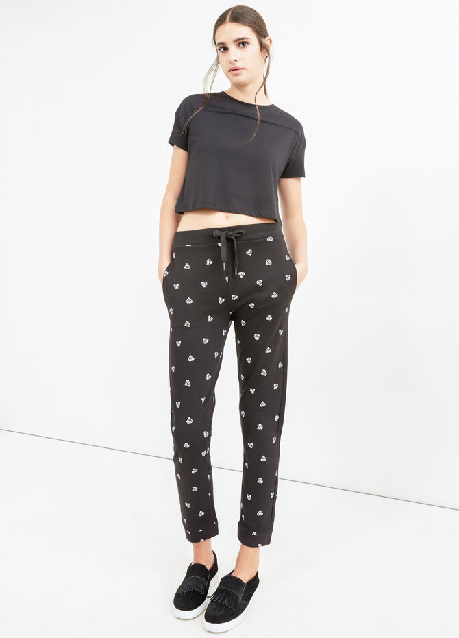 Patterned joggers in cotton blend