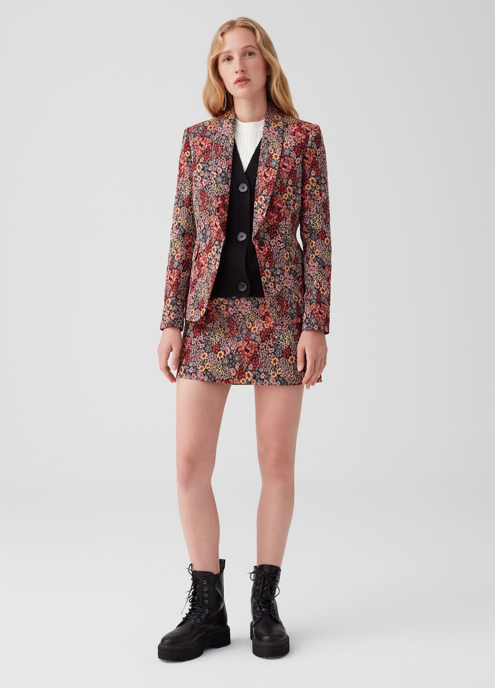 A-line mini skirt with floral jacquard
