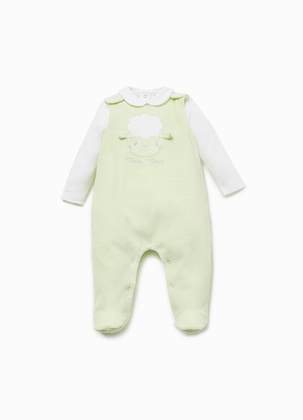 T-shirt and onesie set with sheep patch