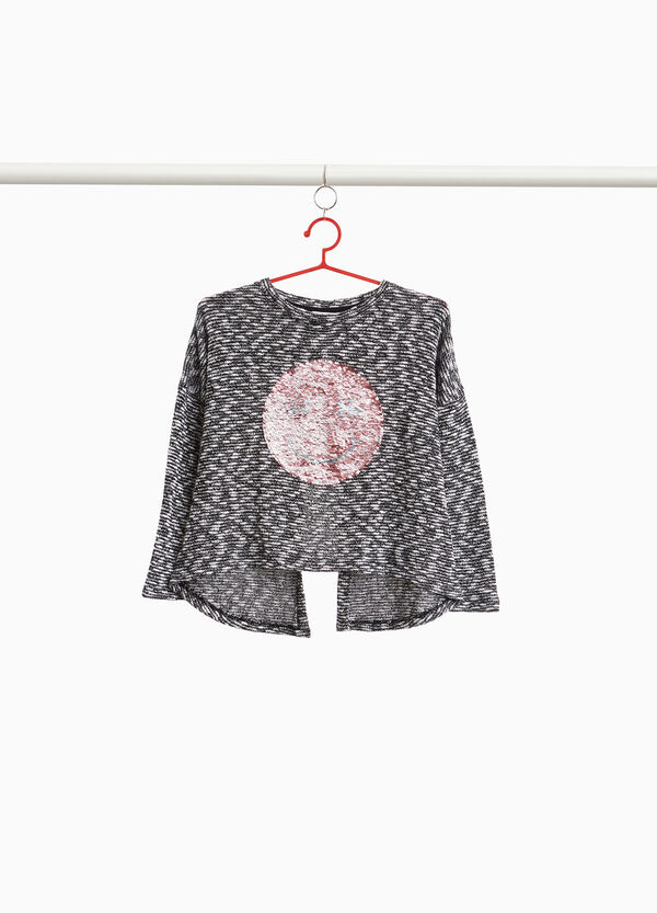 Mélange pullover with smile sequins