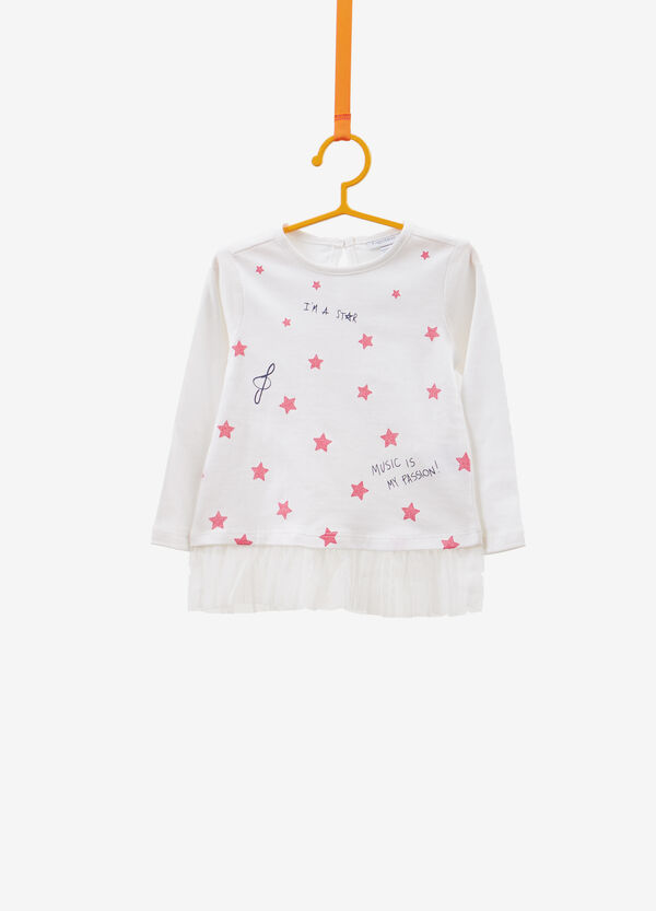 Cotton T-shirt with glitter stars and ruffles