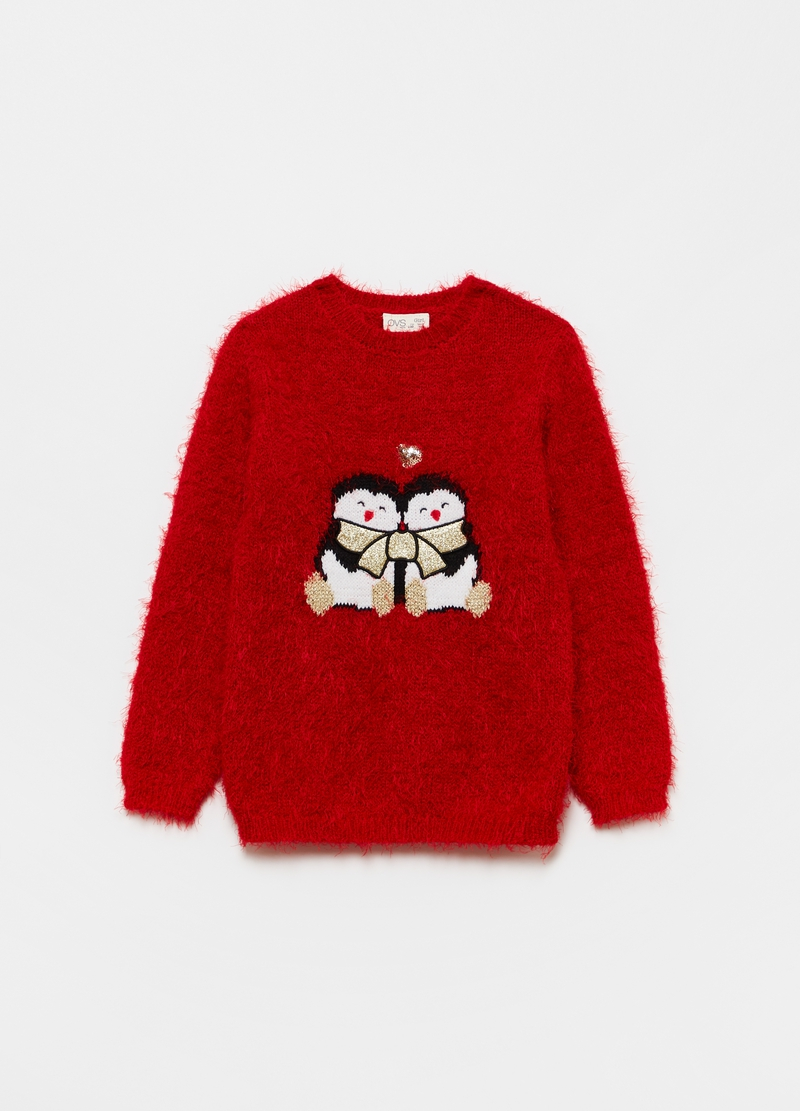 Christmas jumper with jacquard penguins image number null