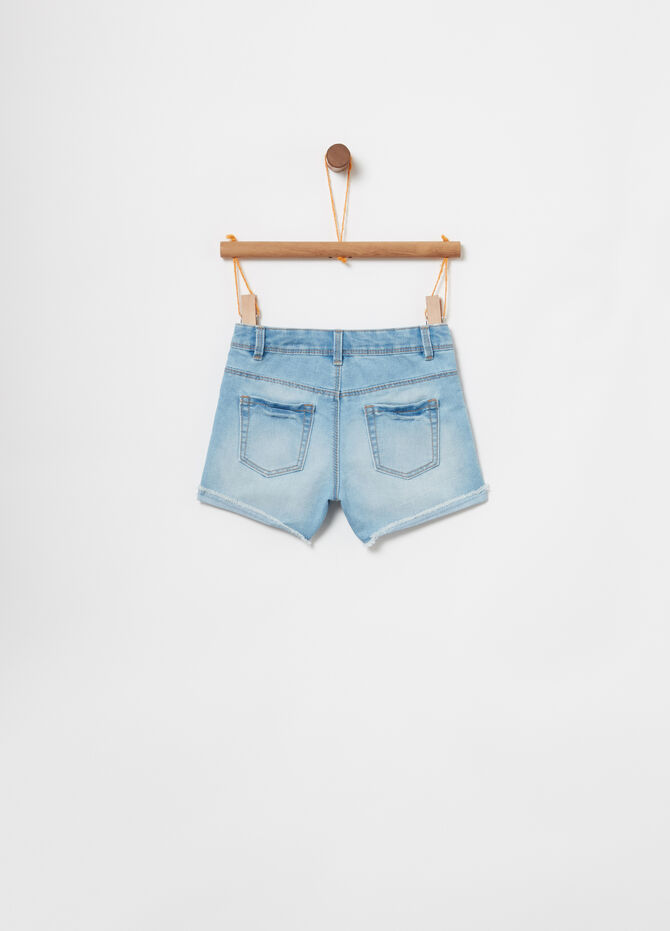 Shorts in denim vita regolabile e ricami