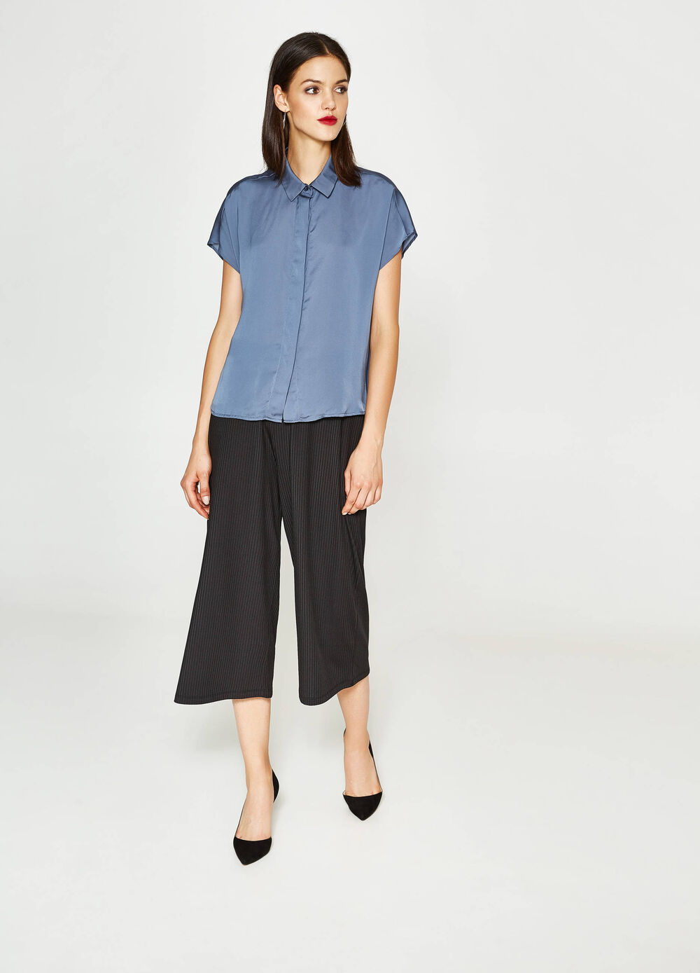 Satin shirt with cap sleeves