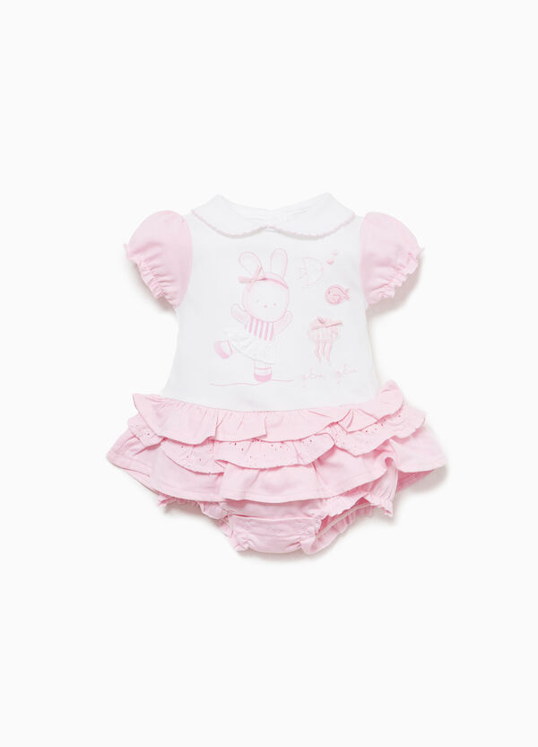 Cotton romper suit with flounced skirt