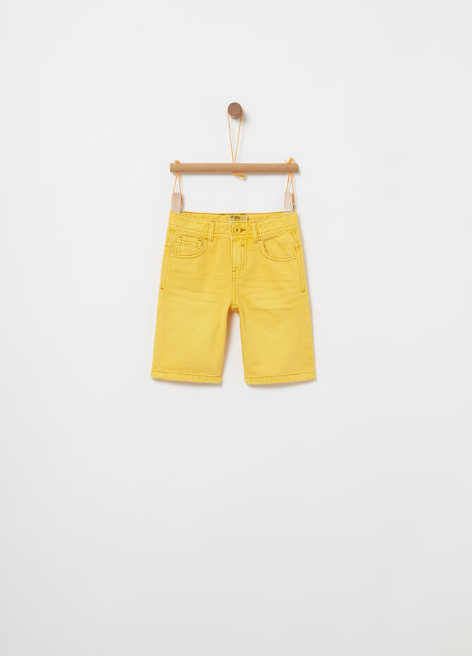 Cotton twill Bermuda shorts with functional pockets