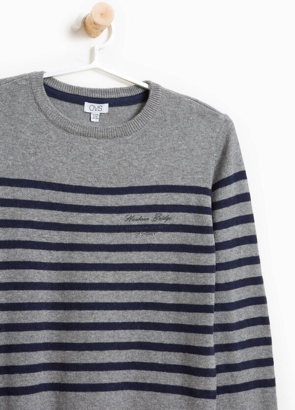 Striped cotton, wool and cashmere pullover | OVS