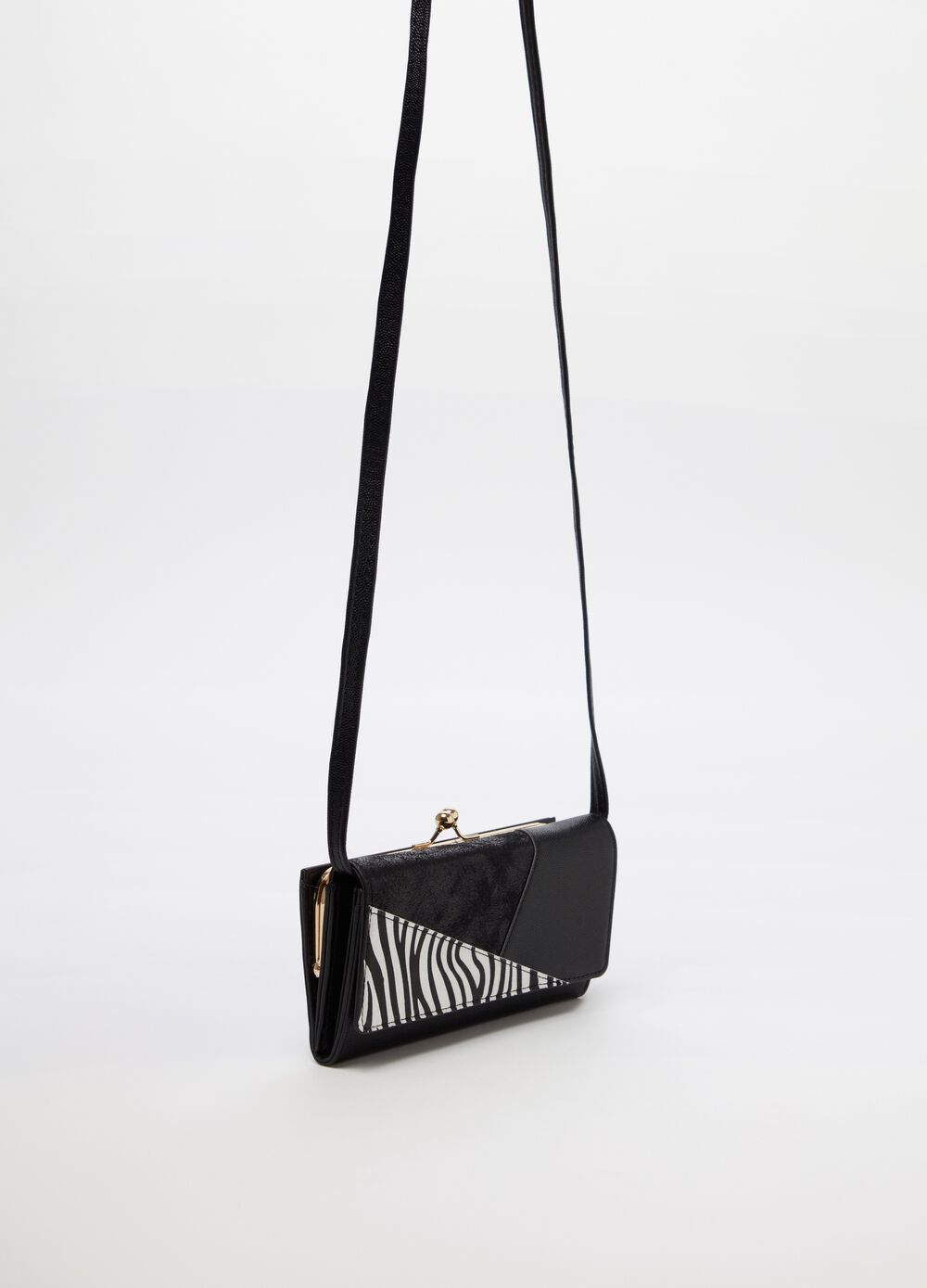 Purse with double compartment and shoulder strap