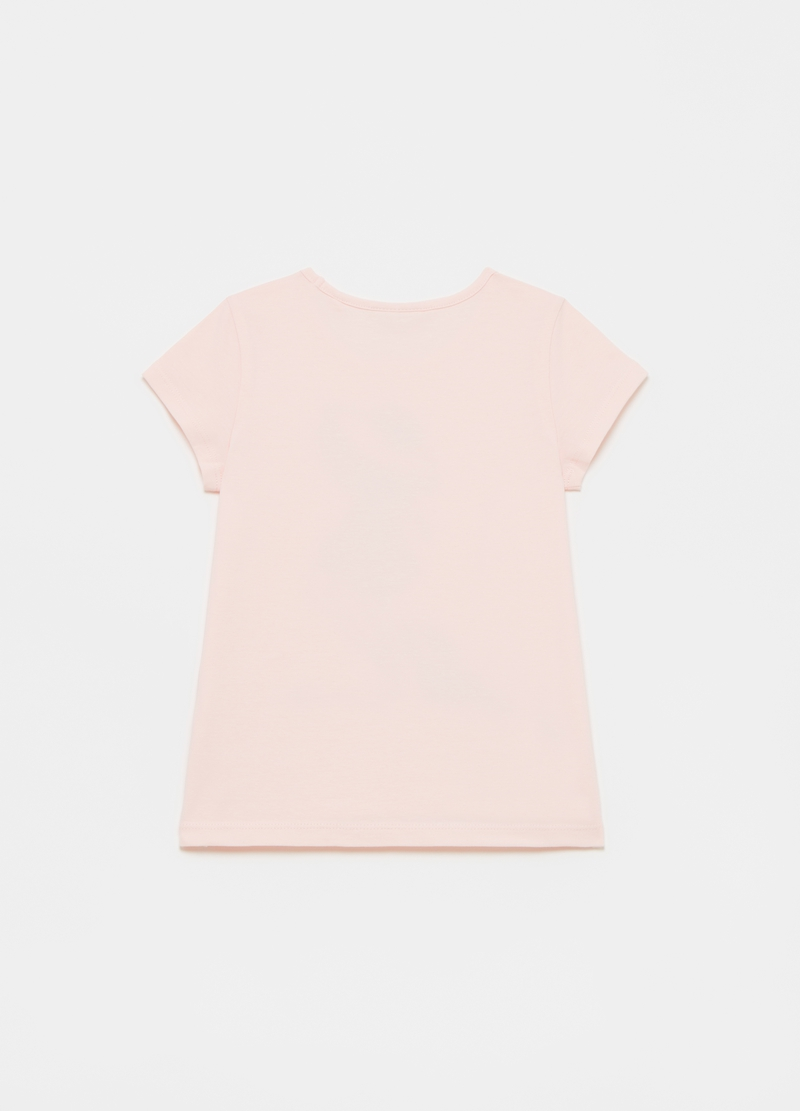 T-shirt in cotone stretch stampa e strass image number null