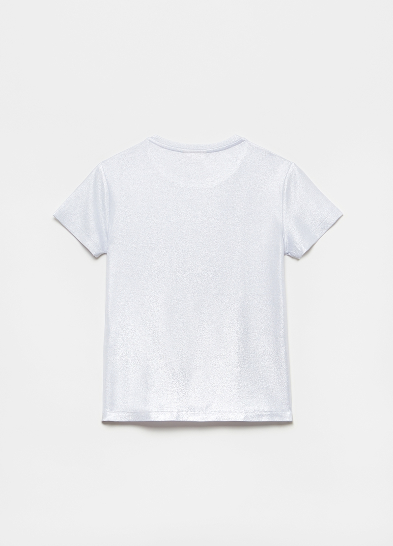 Metallic-effect T-shirt in stretch viscose image number null