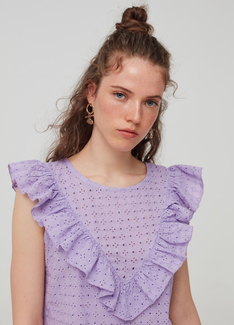 Sleeveless blouse with frills image number null