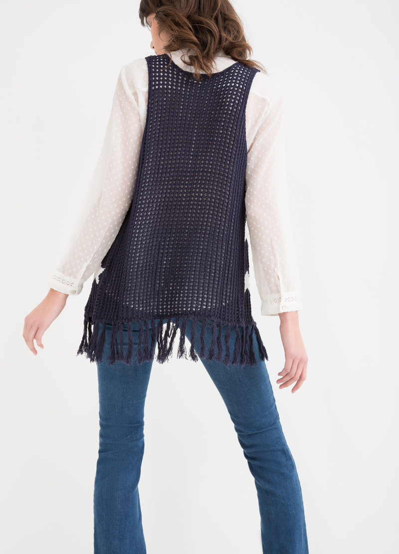 Knitted waistcoat with star pattern image number null